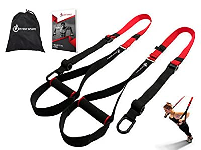 "Bodyweight Fitness Resistance Trainer Kit with Pro Straps for Door, Pull up Bar or Anchor Point. Lean, Light, Extra Durable for Complete Body Workouts. E-Book ""12 Week Program"" (Patent Pending)"