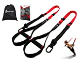 Bodyweight Fitness Resistance Trainer Kit with Pro Straps for Door, Pull up Bar or Anchor Point. Lean, Light, Extra Durable for Complete Body Workouts. E-Book '12 Week Program' 'Patent Pending'