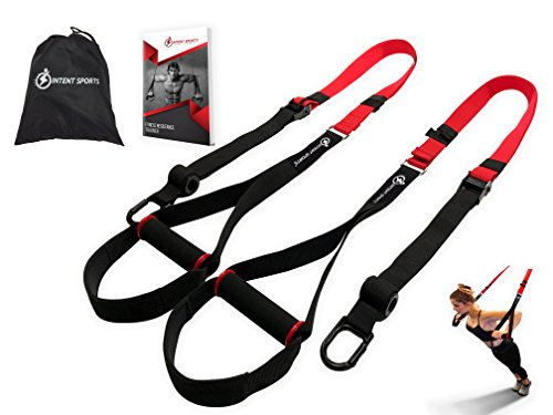 Bodyweight Fitness Resistance Trainer Kit with Pro Straps for Door, Pull up Bar or Anchor Point. Lean, Light, Extra Durable for Complete Body Workouts. E-Book '12 Week Program' (Patent Pending)
