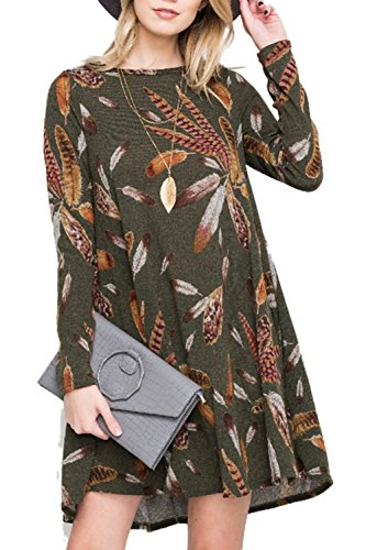 AlvaQ Women Fall Clothes Casual Long Sleeve Feather Print Swing Tunic Casual Tshirt Dress Work 2017 Small Green
