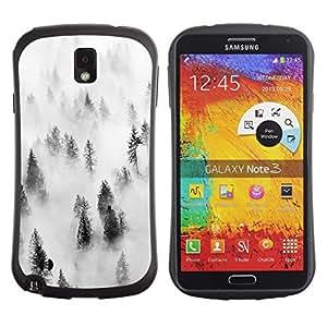 Suave TPU Caso Carcasa de Caucho Funda para Samsung Note 3 N9000 N9002 N9005 / Forest Fog Mist Trees Nature Inspiring / STRONG