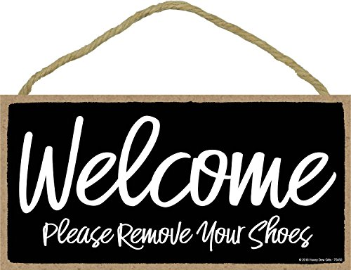 Honey Dew Gifts Black Welcome Please Remove Your Shoes Sign - 5 x 10 inch Hanging Wall Art, Decorative Wood Sign, Home Decor -