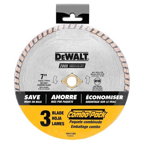 DEWALT DW4712B3 7-Inch High Performance Diamond Masonry Blade 3-Pack