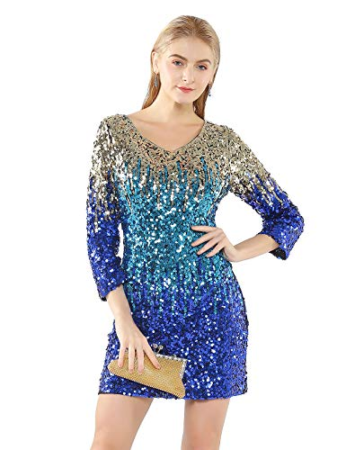 Metme Women's Gradient Sequin Stretchy V Neck Dress, 2/3 Sleeves Embellished Shimmer Glitter Cocktail Party Dress]()