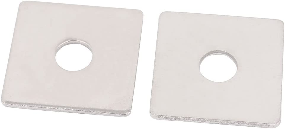 sourcingmap M8 x 30mm Square Stainless Steel Flat Repair Plate Silver Tone 2pcs