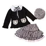 Girls Kids Outfit Bowknot Top Coat+plaid Skirt+hat Dress Skirt 3pcs