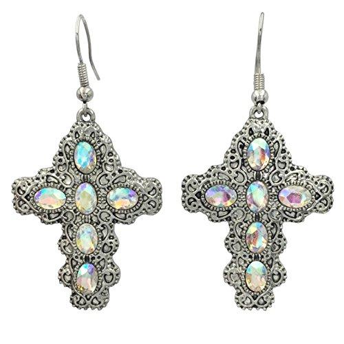Rhinestone Christian Cross Fancy Bling Dangle Earrings (Iridescent AB Silver Tone) ()