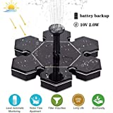 Sunshinehomely Upgraded Solar Fountain Pump with Battery Backup, Solar Powered Bird Bath Fountain 2W Solar Panel Kit Water Pump for Pond, Pool, Garden and Lawn