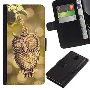 All Phone Most Case / Oferta Especial Cáscara Funda de cuero Monedero Cubierta de proteccion Caso / Wallet Case for Samsung Galaxy Note 3 III // Design Gold Owl