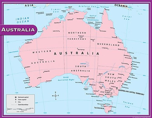 Teacher Created Resources Australia Map Chart, Multi Color (7653)