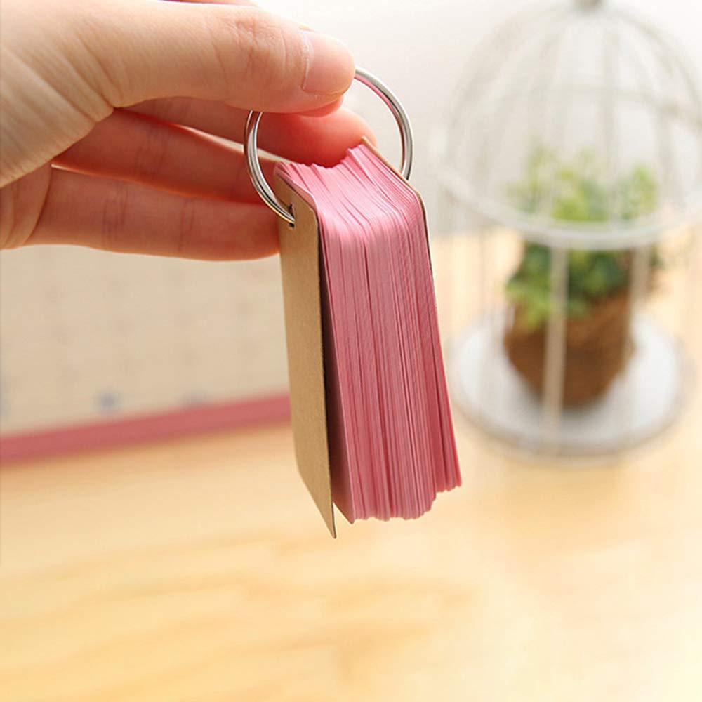 portatile 4cm rosa Flash card carta kraft carte da studio con raccoglitore ad anello,90/pezzi colore vuoto record card memo note per scratch per scuola ufficio carta carta messaggio Easy Flip 7