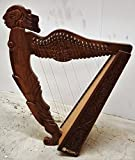 Angel Figure Shaped Harp Hand Carved and Engraved 22 String Great Craftsmanship