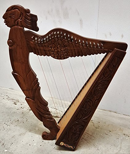 Angel Figure Shaped Harp Hand Carved and Engraved 22 String Great Craftsmanship by Sturgis