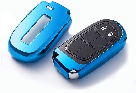 Ontto Smart Autoschlüssel Hülle Abdeckung Schlüssel Tasche Tpu Silikon Schlüsselschutz Schlüsselanhänger Für Jeep Grand Cherokee Dodge Challenger Charger Dart Durango Journey Chrysler 300 Blue Auto