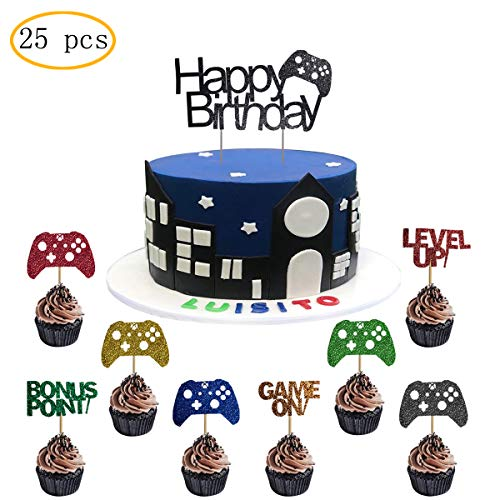 25 Pcs Video Gaming Party Cake Toppers ,Gamer Party Supplies Video Game Themed Birthday decorations Game Fans Party Favors