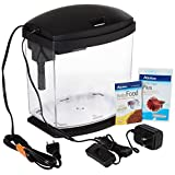 AQUEON Led Mini Bow Aquarium Kit, 1 gallon, Black