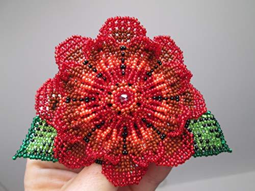 red pink green 3 D huichol style hand beaded Guatemalan flower fair trade Barrette hair clip ornament Fair trade. Hand made .seed beads. Guatemala! Mayan regalia Native American