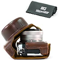 MegaGear Ever Ready Protective Leather Camera Case, Bag for Panasonic Lumix DMC-GX850, GX800, DMC-GF9, DMC-GF8, DMC-GF7 with 12-32mm Lens (Dark Brown)