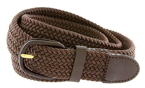 Belts.com Leather Covered Buckle Woven Elastic Stretch Belt, Brown, (3XL(46-48
