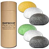 Konjac Facial Sponge (6 Pack) Individually Wrapped Pure Konjac, Bamboo Charcoal, Green Tea, and Turmeric Konjac Sponges Offer a Gentle Cleansing Experience