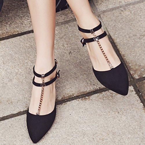 AIYOUMEI Damen Spitz T-spangen Pumps mit Riemchen und 6cm Absatz Blockabsatz Bequem Sommer Schuhe Schwarz