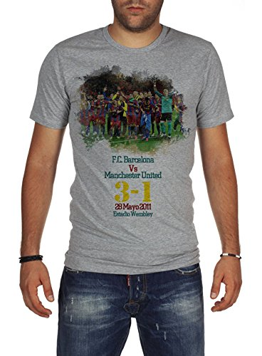 Palalula Men's Champions League Final 2011 F.C. Barcelona vs Manchester United T-Shirt L Grey