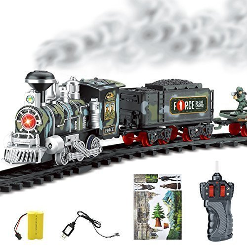 Rctoyer Lifelike Classic Electric Orbit Steam Military Track Train Set with Sound and Smoke Children Toy (Classic Steam Train Collection)