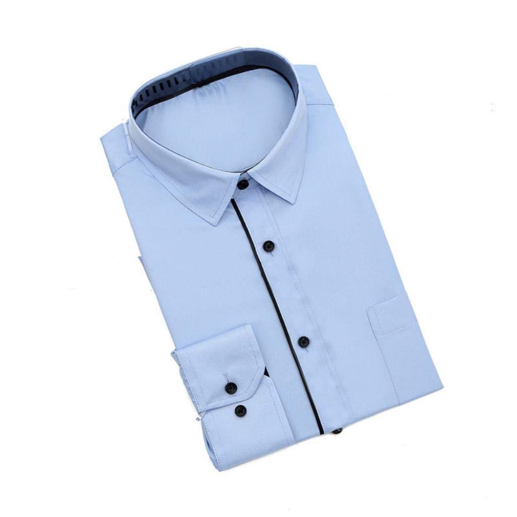 Plus Size Fashion Slim Men Solid Color Long Sleeve Turn Down Collar Shirt Top Pink XXXXL
