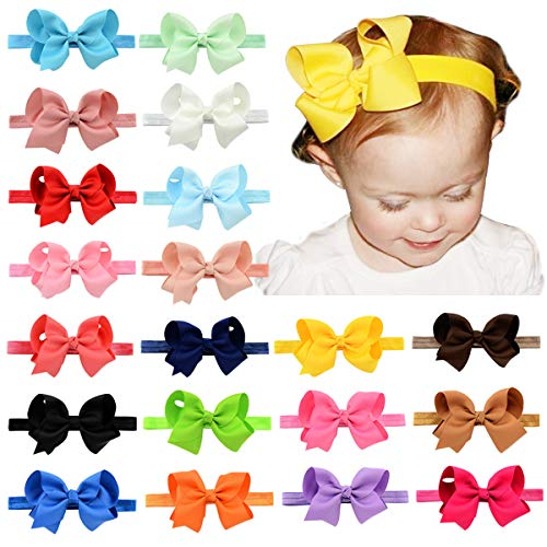 - WillingTee 4.5 inches Grosgrain Ribbon Hair Bows Headbands for Baby Girls Infants and Toddlers 20 pieces