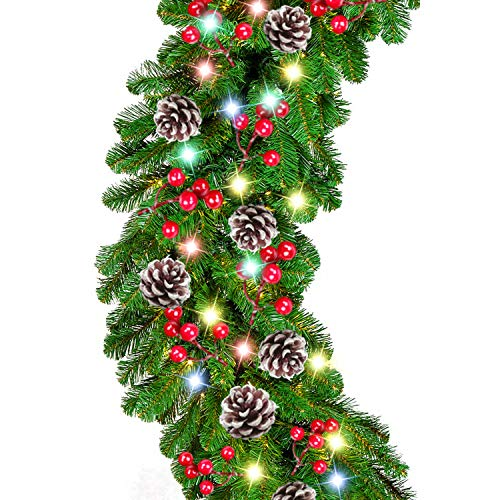 9 Foot by 10 Inch Christmas Garland - 50 LED Lights, Battery Operated Lighted Garland Wreath with Pine Cones Red Berries Lush Branches, Prelit Garland Xmas Decoration Indoor Outdoor Home Holiday (Battery Lit Christmas Garland)