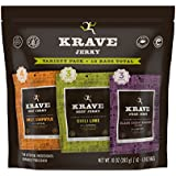 KRAVE Beef Jerky Variety Pack (Sweet Chipotle, Chili Lime, Black Cherry BBQ), Gluten Free, 10 Ounce