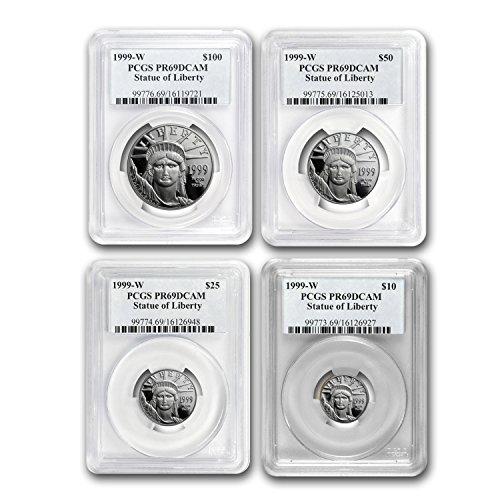 (1999 W 4-Coin Proof Platinum American Eagle Set PR-69 PCGS PF69)