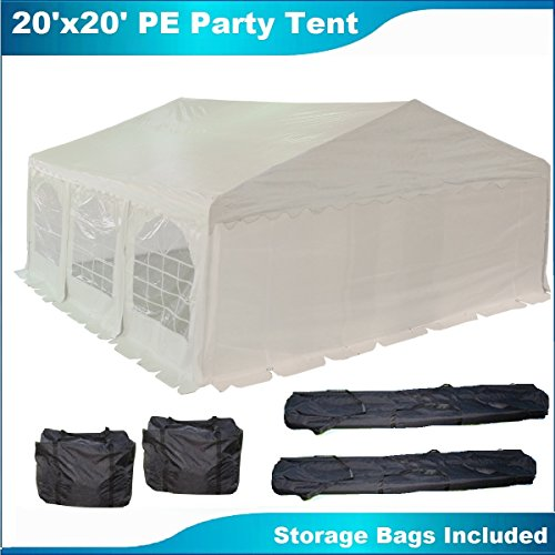 20'x20' PE Party Tent White - Heavy Duty Wedding Canopy C...
