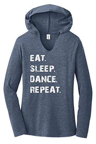 Comical Shirt Ladies Eat Sleep Dance Repeat Navy Frost L