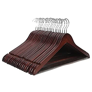 J.S. Hanger Solid Wooden Suit Hangers Walnut Finish with Polished Chrome Hooks - 20 Pack