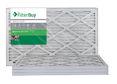 AFB Silver MERV 8 16x20x1 Pleated AC Furnace Air Filter. Pack of 4 Filters. 100% produced in the USA. from FilterBuy