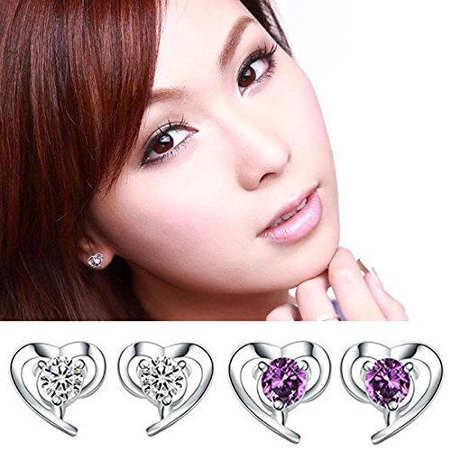 Alvade Love Purple zircon Earrings, Elegant Silver-Plated Stud Earrings Girl Jewelry by Alvade (Image #6)