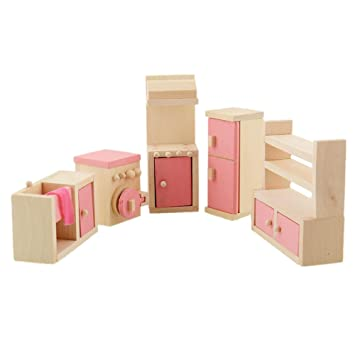 Peradix Wooden Doll House Furniture Play Kitchen Set