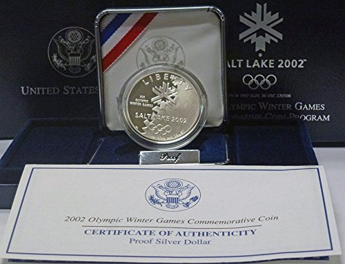 2002 P Salt Lake City Olympic Games Proof Silver Dollar OGP US Mint