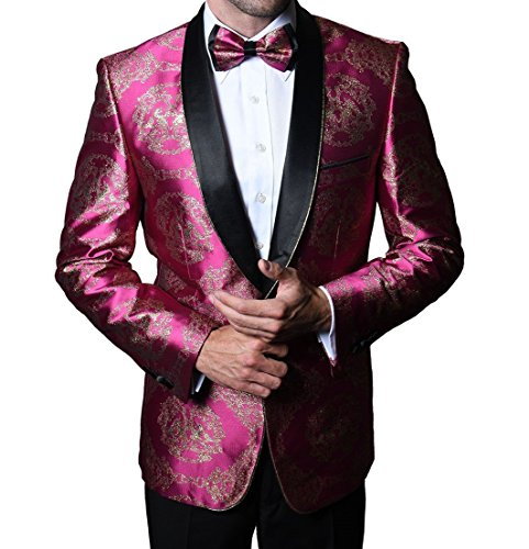 Statement SJ103 Mens Polished Fuschia Hot Pink & Gold Tux Blazer Jacket + Bow Tie (46L Jacket) -