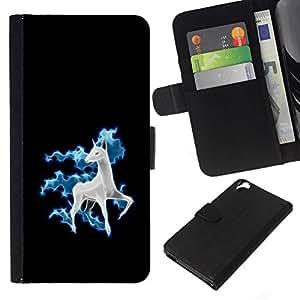 // PHONE CASE GIFT // Moda Estuche Funda de Cuero Billetera Tarjeta de crédito dinero bolsa Cubierta de proteccion Caso HTC Desire 820 / Funny Cute Horse Unicorn Fancy /