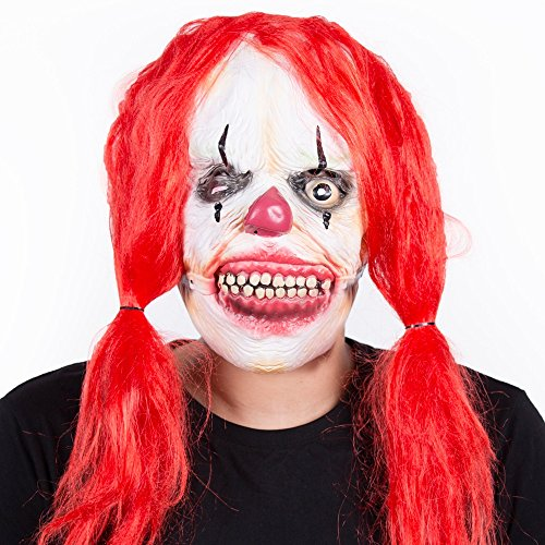 RUNMO Soft Latex Mask Scary Clown Face Long Hair Skull Monster Mask (Color : Red Long Hair, Size : (Classic Scary Halloween Characters)