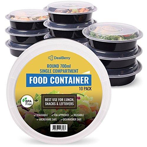 Pack de 10 fiambreras redondas sin BPA, sin olor, para comida ...