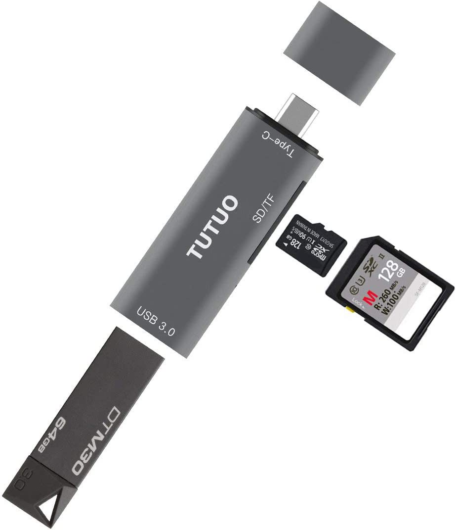TUTUO Lector de Tarjetas SD/Micro SD (TF) USB Tipo C a USB A 3.0 Adaptador Tipo C OTG Conector para MacBook Pro, Redmi Note 8 Pro/Note 7, Huawei P30 Pro, Galaxy Note 20,Note 10 / S20 Plus (Gris)