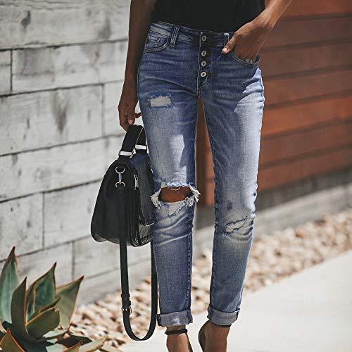 Haut Taille la Coupe Taille Bleu Pantalon vas Denim Trou Veau Skinny Pantalon HauteSisit Jeans Femmes Cowboy Slim Jeans Pantalon Stretch wRIqnzI0