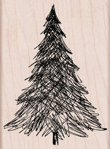 Ink Tree - Hero Arts Pen and Ink Christmas Tree Woodblock Stamp
