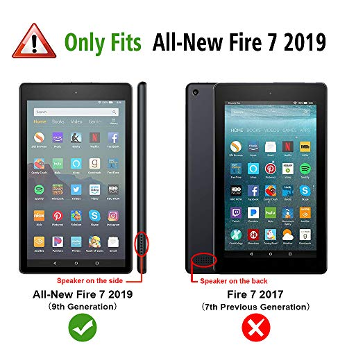 Fintie Shockproof Case for All-New Amazon Fire 7 Tablet (9th Generation, 2019 Release) - Rugged Unibody Hybrid Full Protective Bumper Cover with Built-in Screen Protector, Black