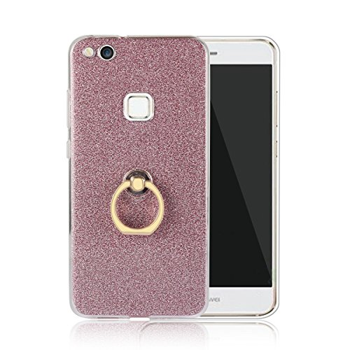 Price comparison product image Moonmini Huawei P10 Lite. Case Cover Sparkling Slim Fit Soft TPU Back Case Cover with Ring Grip Stand Holder 2 in 1 Hybrid Glitter Bling Bling TPU phone Case Cover (Pink)