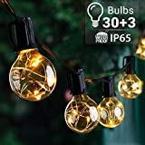 Quntis 39FT Outdoor String Lights, G40 Globe LED String Lights with 30+3 Bulbs, Waterproof Patio String Lights for Backyard Garden Porch Bistro Cafe Party Wedding, UL Listed, Warm White, Unconnectable