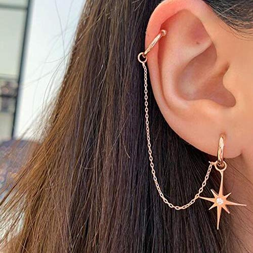 Personalized Earrings and Ear Clips. Creative Earrings Diamond-Studded Pearl Ear Clip Earrings One-Piece High-End Earrings and Retro Fashion Personalized Animal Ear Clips(Six-pointed star)